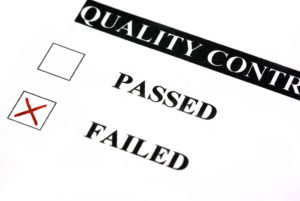Quality control form. Failed is checked, close image. ** Note: Shallow depth of field